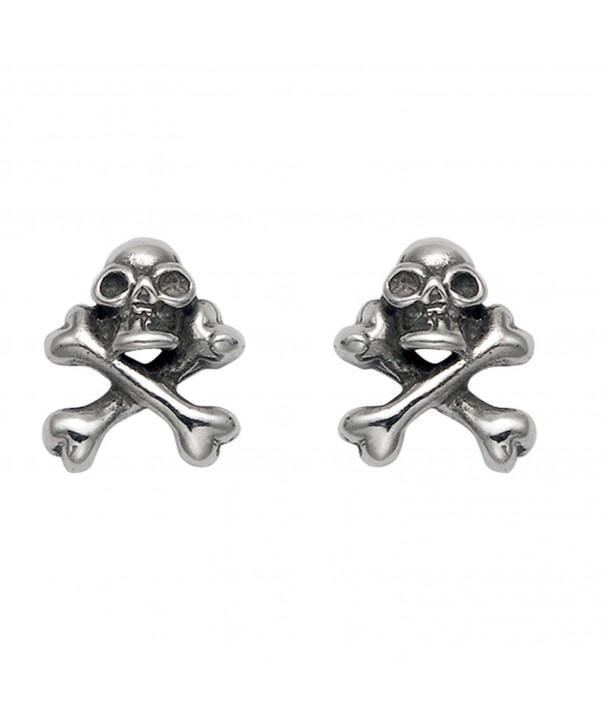 Stainless Steel Skull Crossbone Earrings