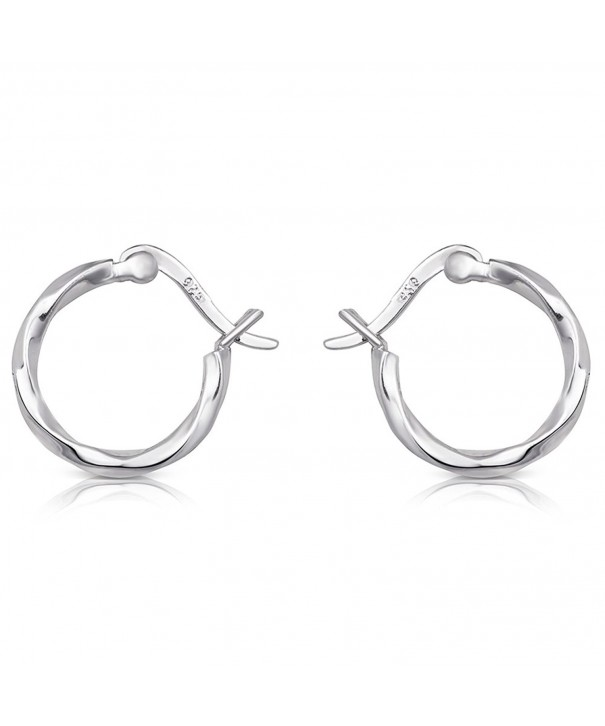 Sterling Silver Rhodium Twisted Earrings