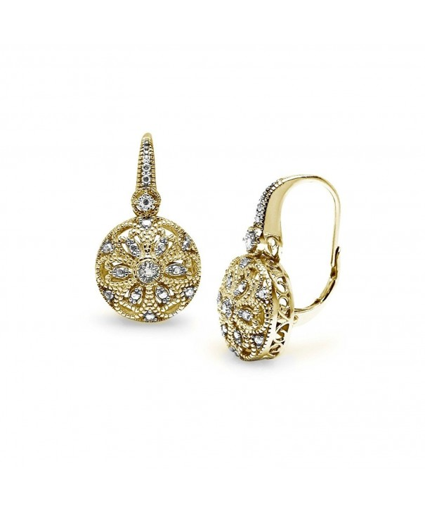 Flashed Sterling Filigree Leverback Earrings