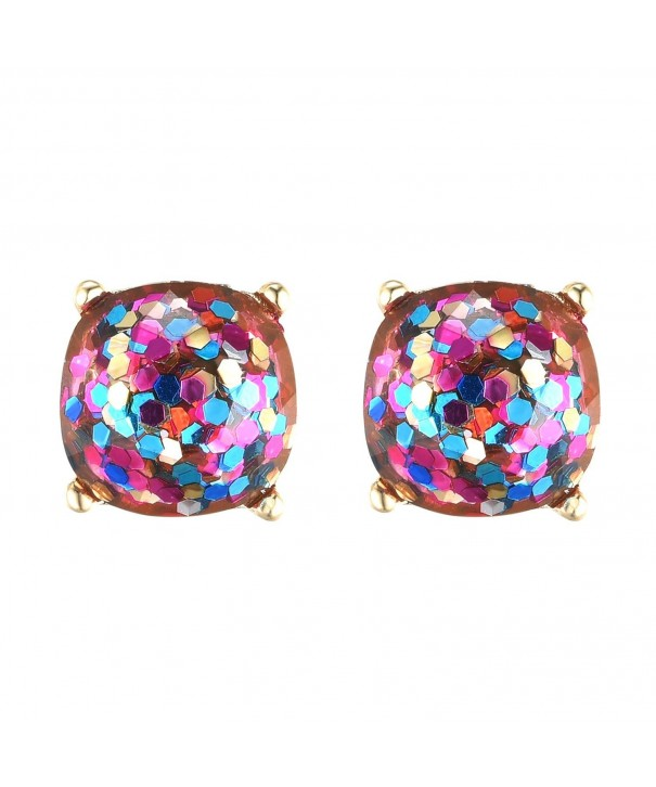 Glitter Colored Earrings Square Cushion