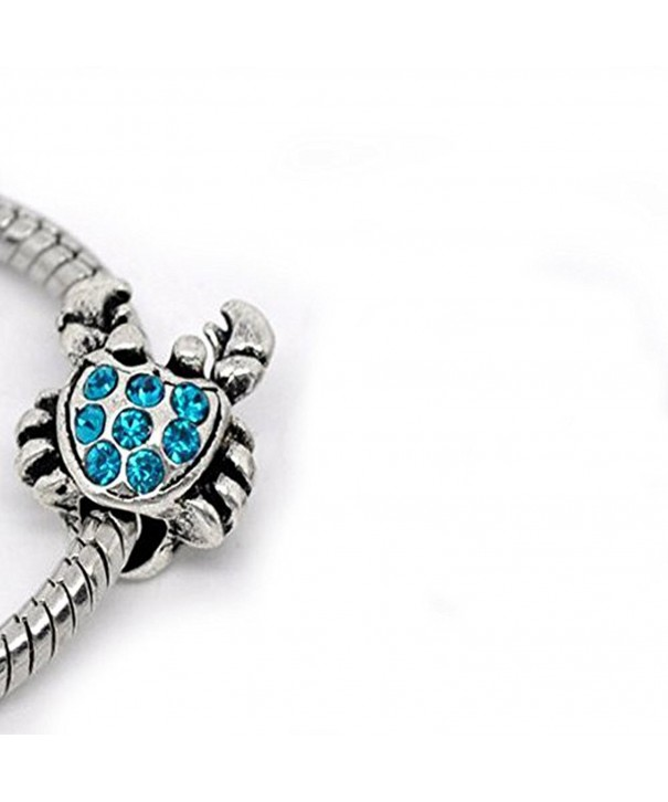 Turquoise Rhinestones Charm European Bracelet