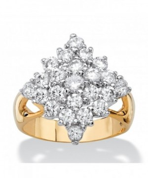 Zirconia Gold Plated Diamond Shaped Cluster Cocktail