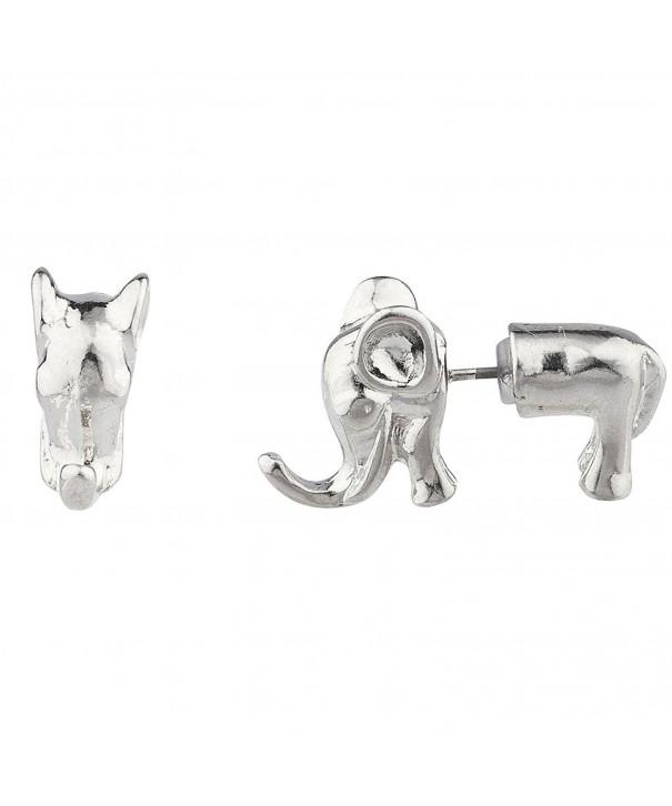 Lux Accessories Silvertone Elephant Earrings