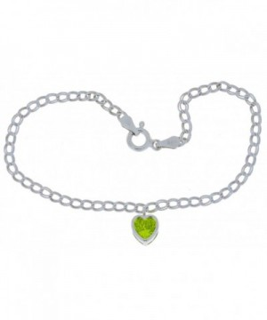 Simulated Peridot Bracelet Sterling Rhodium