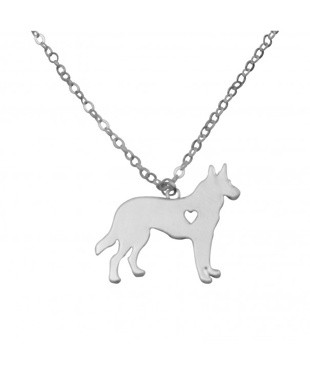 Silvertone Outline Shepherd Pendant Necklace