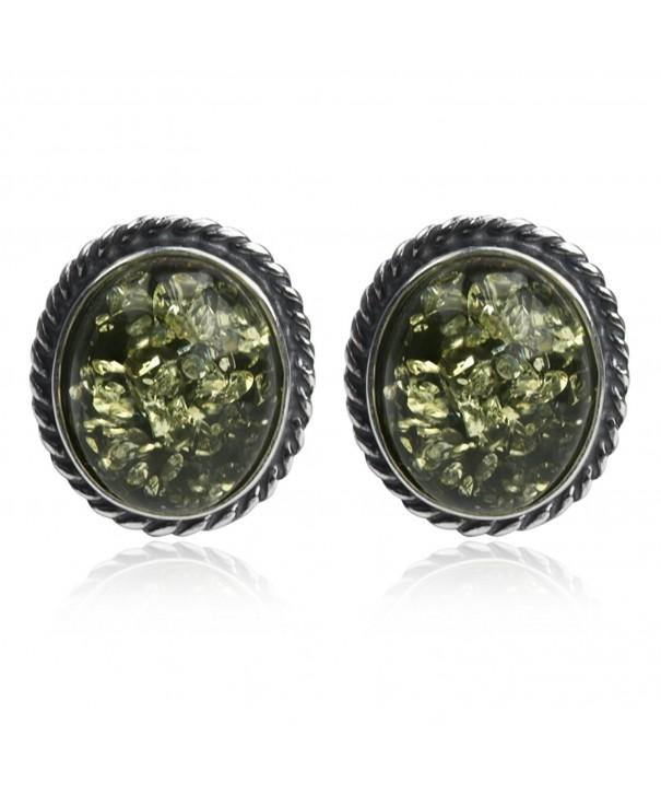 Sterling Silver Green Amber Earrings