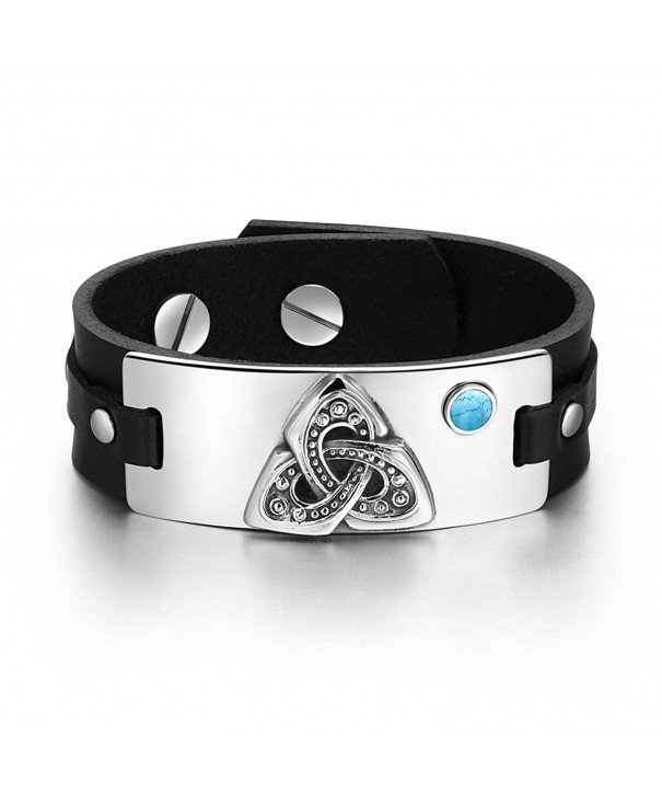 Triquetra Simulated Turquoise Adjustable Bracelet