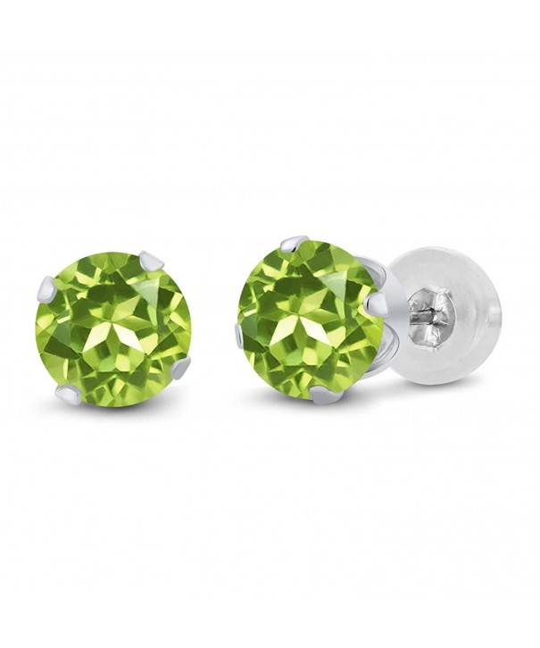 Round Green Peridot Womens Earrings