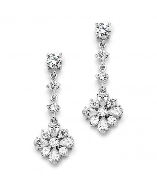 Cubic Zirconia Dangle Earrings For Wedding Bridesmaid Or Prom