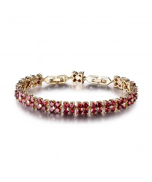 Fashion Tennis Bracelet Swarovski Elements Crystal Round Red Gold Plated Ce12eq6wpkn