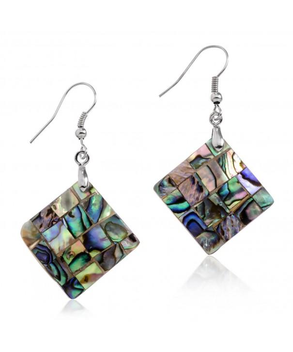 PammyJ Silvertone Abalone Square Earrings