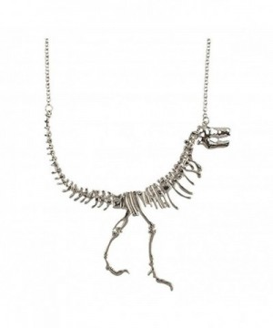 Janestore Dinosaur Statement Necklace Teens Silver