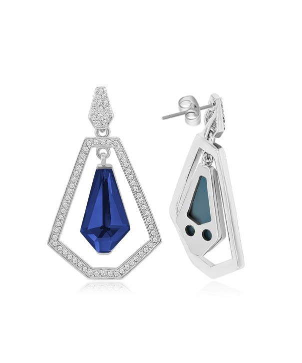Kemstone Hollow Out Sapphire Earrings Geometry