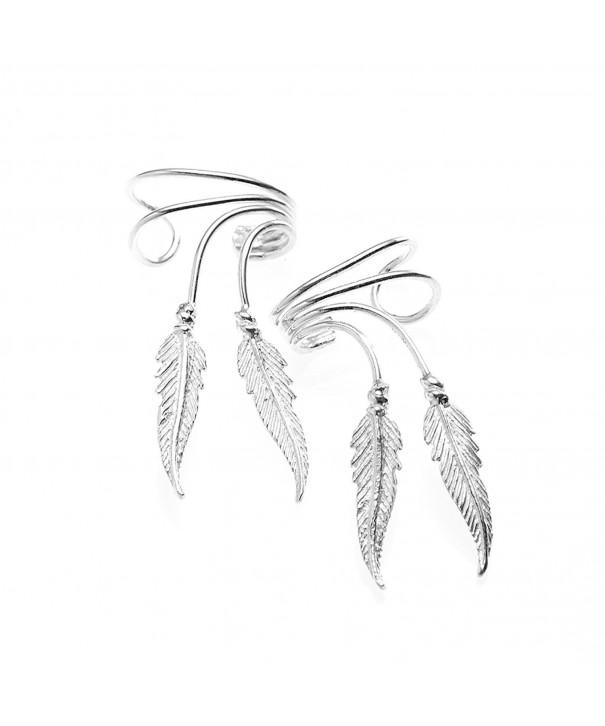 Sterling Beautiful Earcuff Feather Earrings