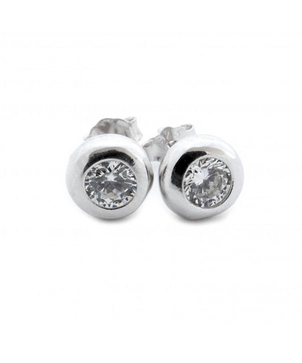 Sterling Silver Rhodium Zirconia Earrings