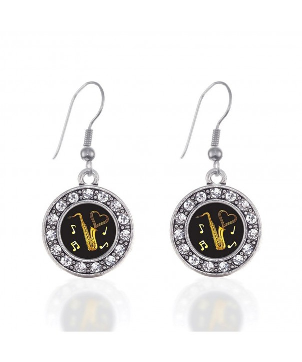 Saxophone Circle Earrings Crystal Rhinestones