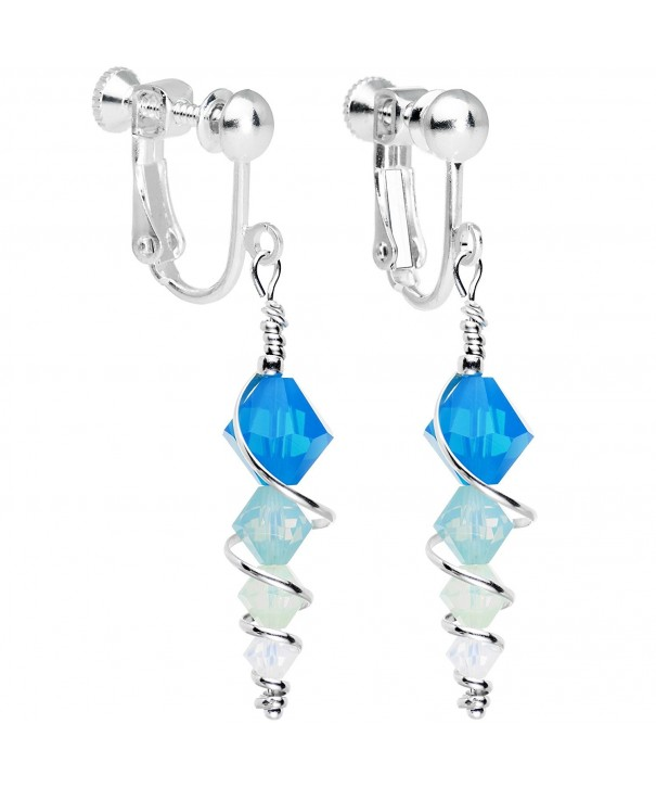 d58f0b57f Handcrafted Silver Plated Blue Icicle Clip On Earrings Created with ...
