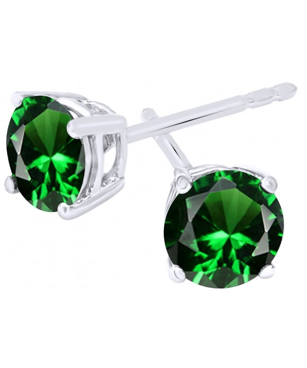 Simulated Emerald Earrings Sterling Silver