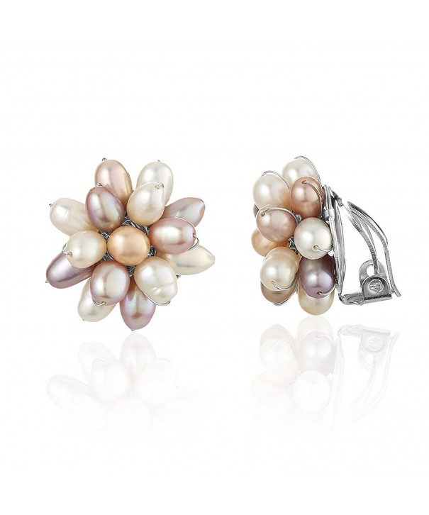 Clustered Purple Cultured Freshwater Earrings