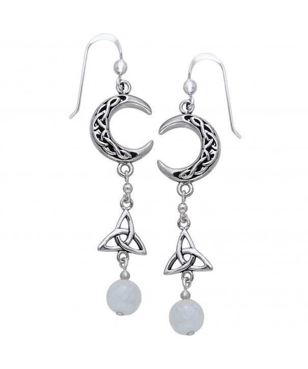 Sterling Silver Crescent Moonstone Earrings