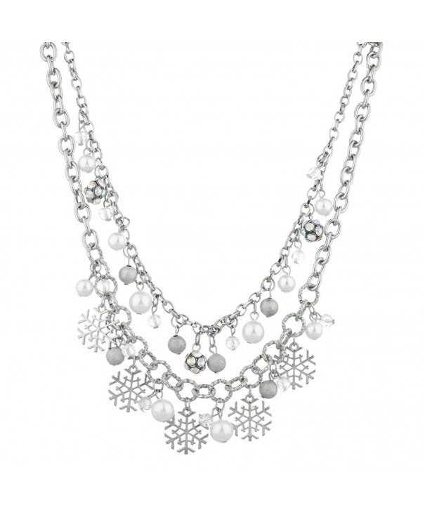 Lux Accessories Christmas Snowflake Necklace