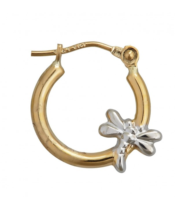 Two Tone Gold Polished Dragonfly Earring