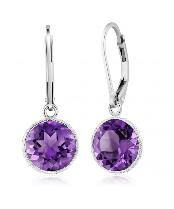 Beautiful Sterling Amethyst Leverback Earrings