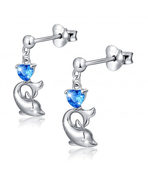 Sterling Silver Zirconia Dolphin Earrings
