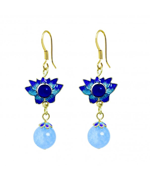 Cloisonn Handcrafted Earrings Dangling Chalcedony