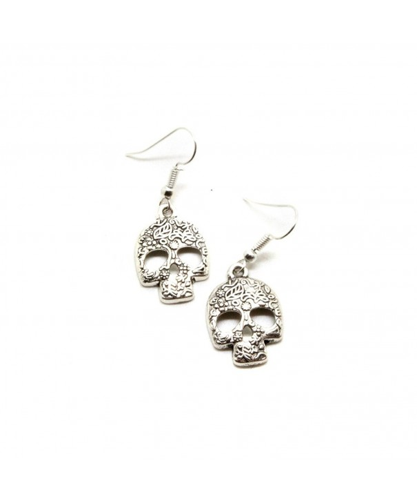 Silver Floral Sugar Earrings Muertos