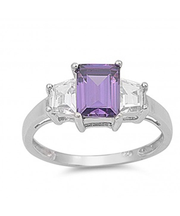 Simulated Amethyst Polished Sterling Silver