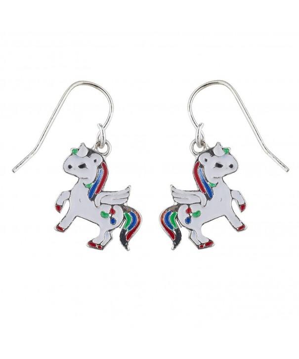 Lux Accessories Silver Unicorn Earring