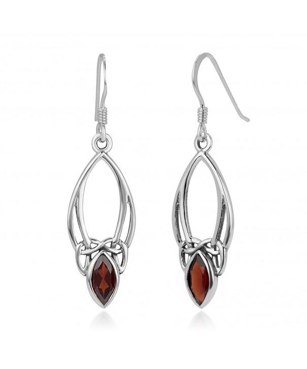 Sterling Silver Gemstone Marquise Earrings