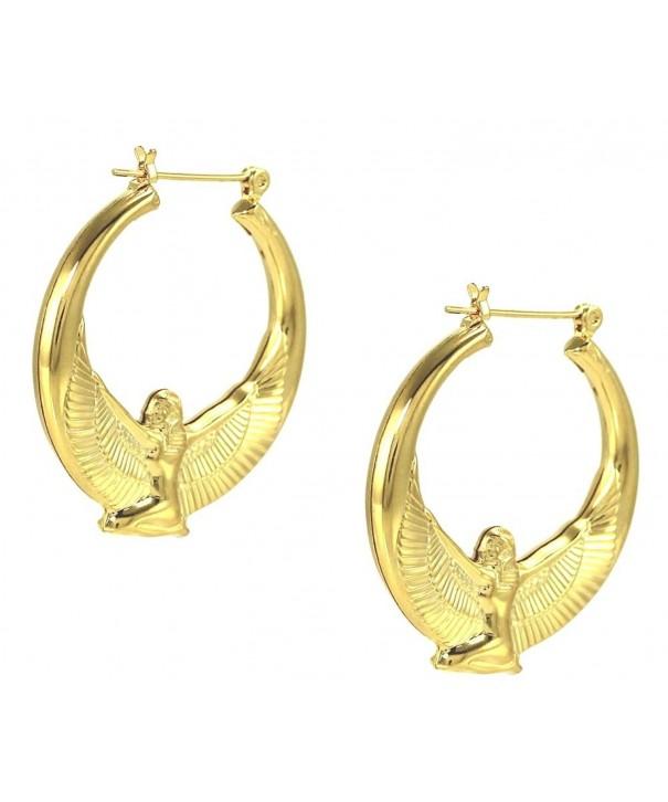 Egyptian Goddess Yellow Plated Earrings
