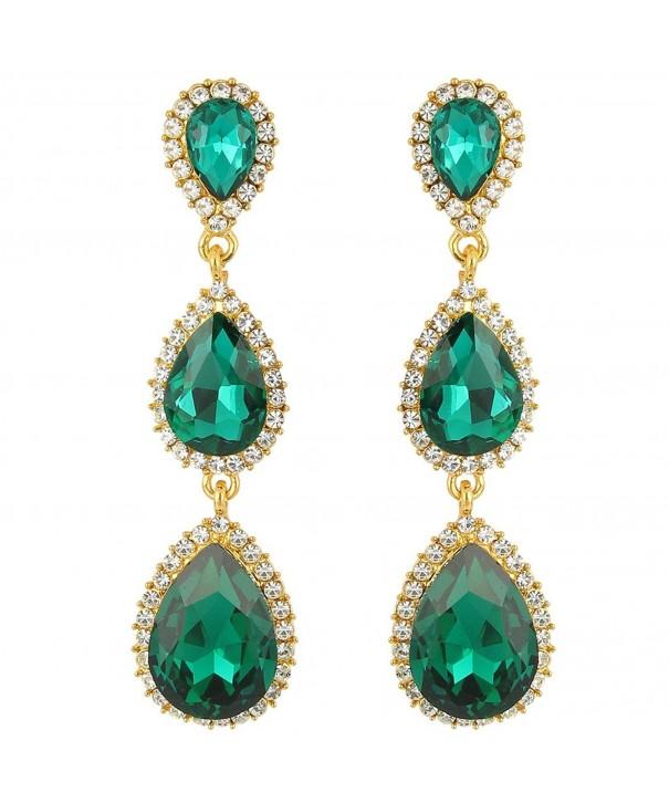 44e5002af Women's Gold-tone Austrian Crystal Teardrop Pear Shape 2.5 Inch Long ...