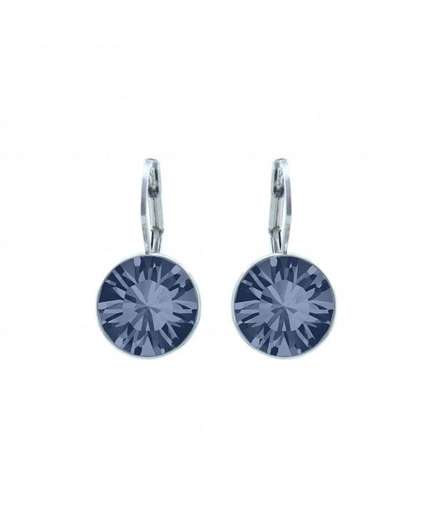 Blue Rhodium Earrings Swarovski Crystals
