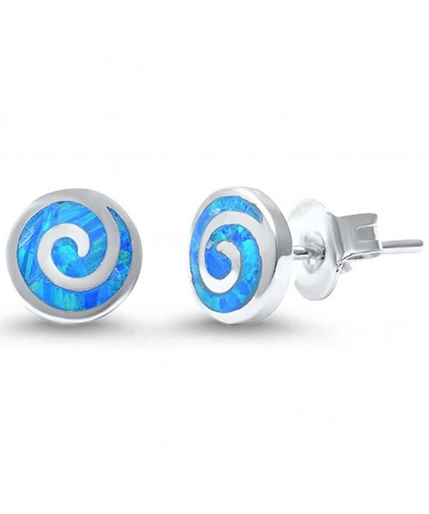 Spiral Earrings Created Blue Sterling