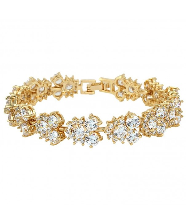 EVER FAITH Zirconia Bracelet Gold Tone