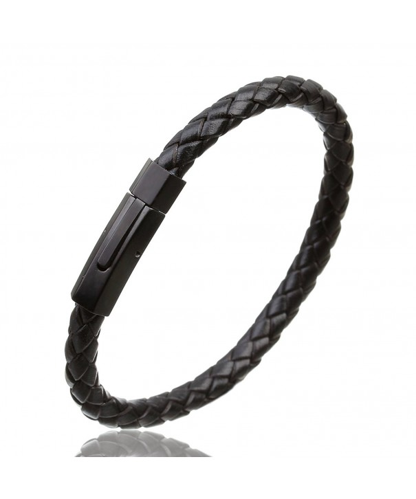 Linsoir Leather Braided Bracelet Stainless