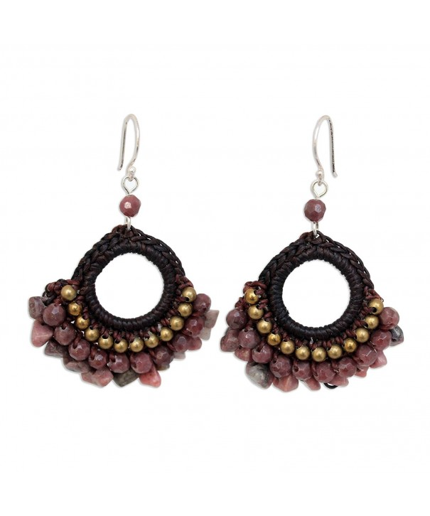 NOVICA Rhodonite Chandelier Earrings Sterling