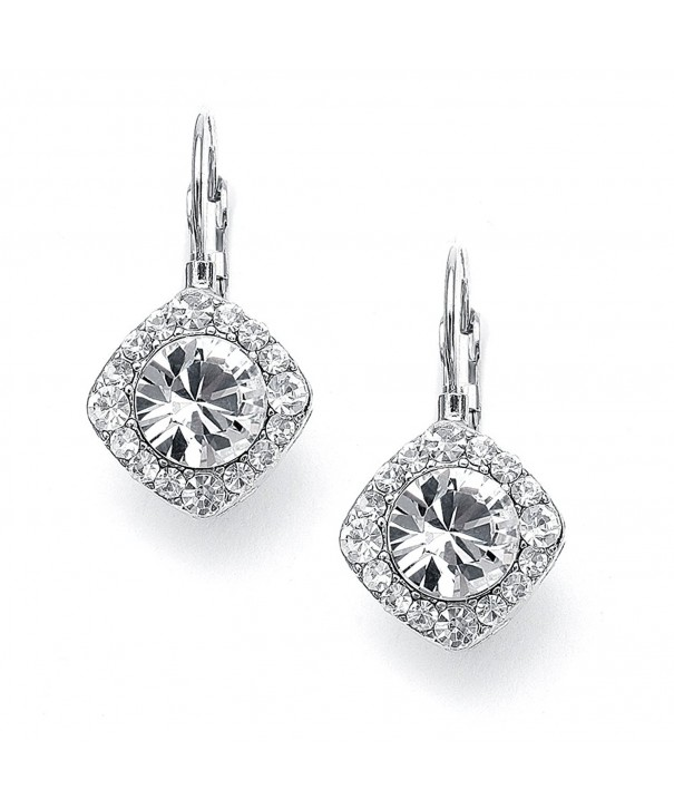 Mariell Glistening Crystal Earrings Cushion Shape