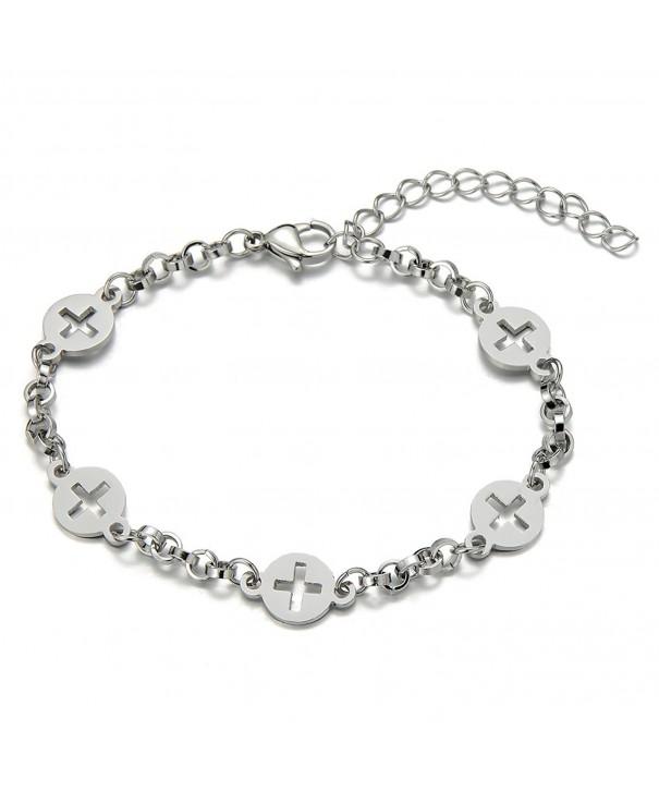 Stainless Anklet Bracelet Circles Crosses