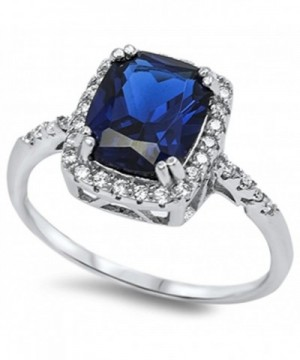 Rectangle Simulated Sapphire Sterling Silver