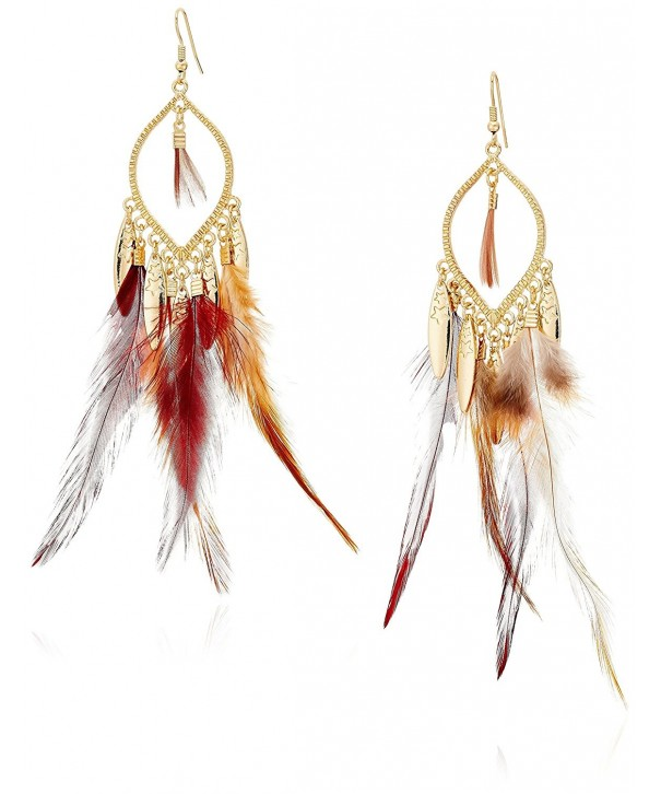 Panacea Gold Brown Feather Earrings