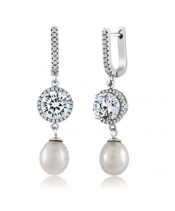 Stunning Cultured Freshwater Zirconia Earrings