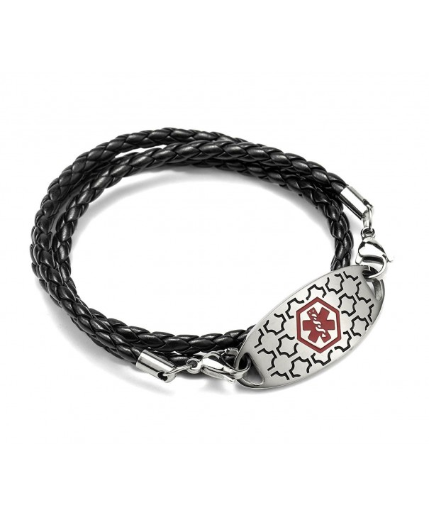 Engraved Stainless Medical Bracelets Leather