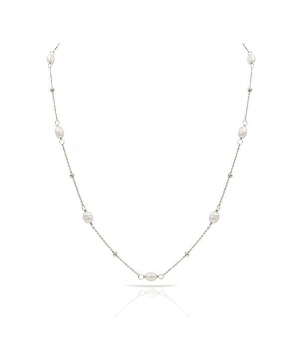 Sterling Freshwater Cultured Necklace Rhodium
