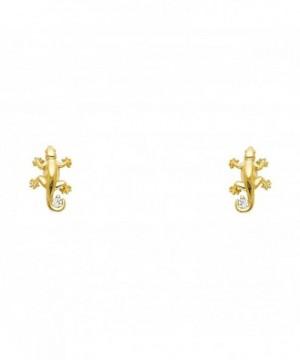 Yellow Gold Lizard Earrings Screw