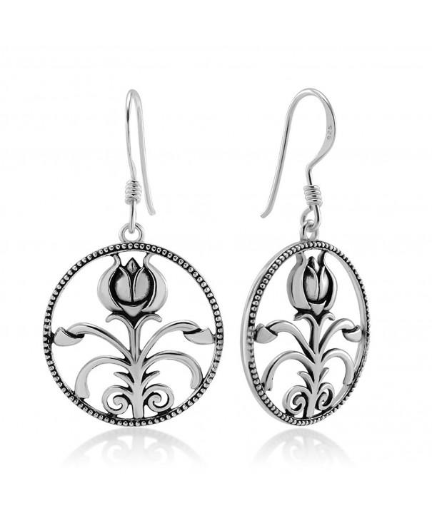 Oxidized Sterling Silver Flower Earrings