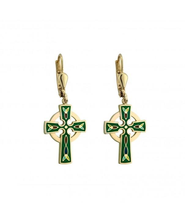 Celtic Cross Earrings Dangle Plated
